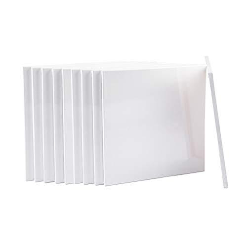 Easy Kunst GmbH 10er Pack Keilrahmen Leinwand Set aus 100% Baumwolle - 380 g/m² - von Gr. 10x10 cm bis Gr. 80x120 cm - 17mm dick Mit 8 Keile(Gr. 10x10 cm)