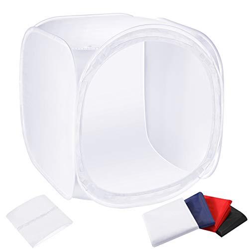 Neewer 24x24 Zoll / 60x60 cm Fotostudio Aufnahme Zelt Lichtwürfel Diffusions Soft-Box-Set mit 4x Hintergründe (rot/dunkelblau/schwarz/weiß) für Fotografie