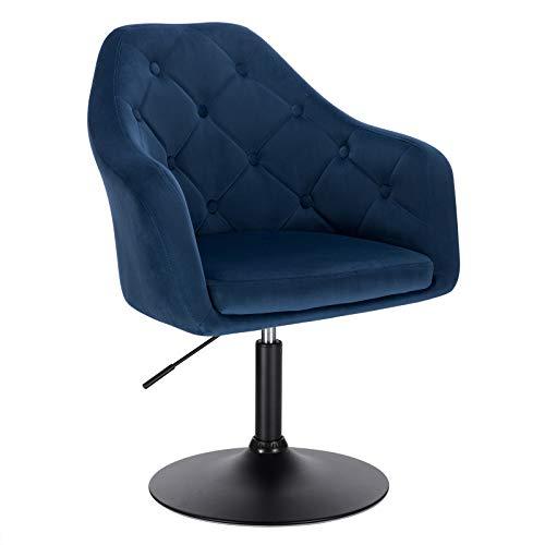 WOLTU BH239bl-1 1x Barsessel Loungesessel, stufenlose Höhenverstellung, Metall, Samt, gut gepolsterte Sitzfläche mit Armlehne und Rücklehne, Blau