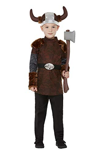 Smiffy's-Smiffys Viking Barbarian Costume Disfraz de bárbaro, color marrón, L-10-12 Years 71010L