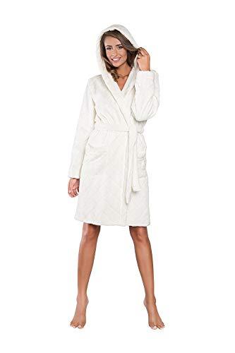 Italian Fashion IF Damen Bademantel 2 Taschen Morgenmantel Saunamantel mit Kapuze (XXL, Ecru)
