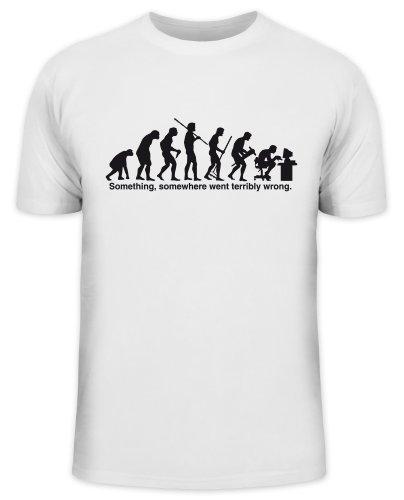 Shirtstreet24, Evolution SOMETHING, SOMEWHERE... Compter, PC Funshirt, Größe: 3XL,weiß