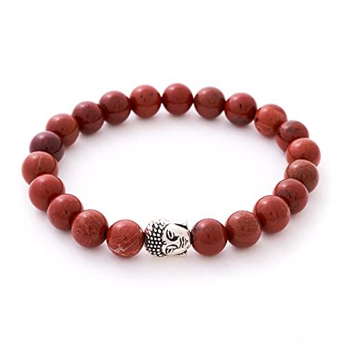Jaspis Armband mit Naturstein Perlen und Buddha Kopf Perle – BERGERLIN Feel Goods