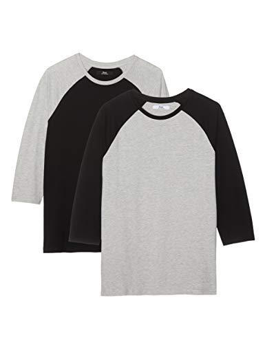 Amazon-Marke: find. Herren Gestuftes T-Shirt, 2er-Pack, Mehrfarbig (Grey Marl/Black), S, Label: S