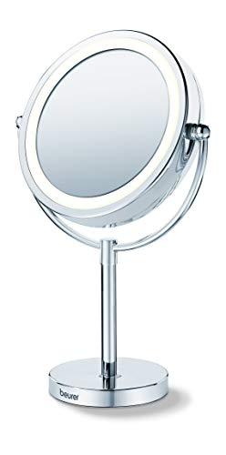 Beurer BS 69 Kosmetikspiegel, Beleuchteter Spiegel mit 2 drehbaren Spiegelflächen und 5-fach Vergrößerung