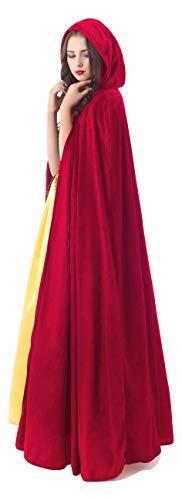 Little Adventures Adult Full Length Deluxe Velvet Cloak Cape with Lined Hood (Red)