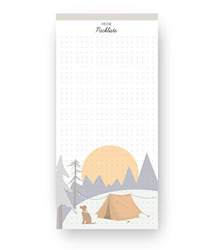Packlisten Block für Urlaub und Reise (50 Blatt, 10 x 21 cm, Punkteraster) | dabelino