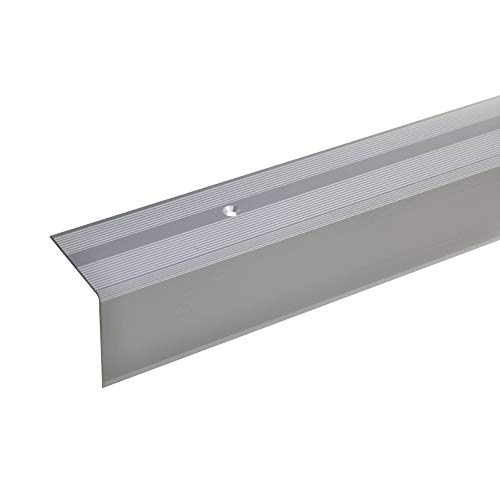 acerto 51070 Aluminium Treppenwinkel-Profil 42x40mm silber Rutschhemmend Robust Leichte Montage Treppenkan (100 cm)