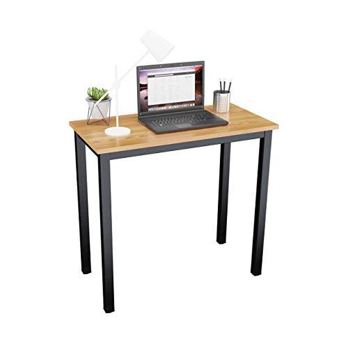 DlandHome Mesa de Ordenador Escritorio de Oficina 80x40cm Mesa pequeña de Estudio Puesto de Trabajo Mesa de Despacho, Teca & Negro