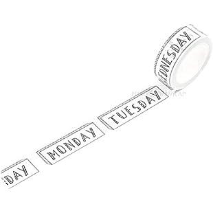 Days Of Week Planner Washi Masking Tape:Whiteox