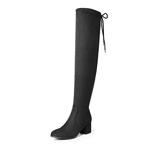 DREAM PAIRS Women's New Portz Black Over The Knee Thigh High Chunky Heel Boots Size 6 B(M) US