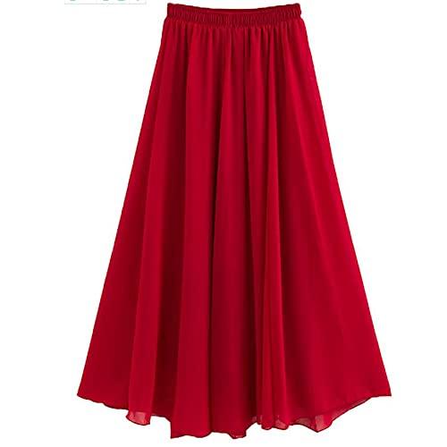 N\P Las mujeres de gasa Faldas Largas de Verano All-Match Beach Skirt Otoño, B, 40