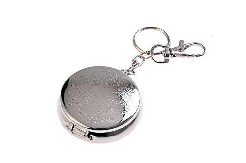 Quantum Abacus Mini-Aschenbecher/Taschenaschenbecher/Reiseaschenbecher - Zinklegierung, eingeprägtes Muster, Karabiner, Schlüsselring, Zigarettenablage, silberfarben, 757-02 (DE)