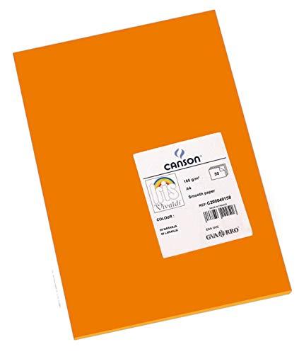 Canson Iris Vivaldi Papier couleur A4 Lisse 185g/m² 21 x 29,7 cm Orange Lot de 50