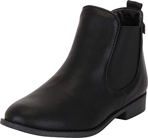 Cambridge Select Women's Classic Round Toe Chelsea Stretch Low Heel Ankle Bootie,8.5 B(M) US,Black PU