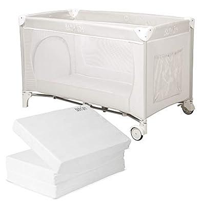 Baby Joy Portable Folding Child Baby Large Travel Cot Crib Bed Playpen, Carry Bag, Mosquito Net, Brake Wheels, Folding Base, 125 x 65 cm