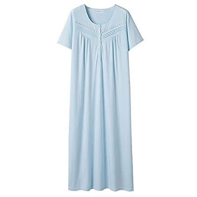 Keyocean Nightgowns for Women All Cotton Short Sleeve Long Nightgowns Soft Lightweight Sleepwear Nightshirt Loungewear (XX-Large, Light Blue) from Keyocean