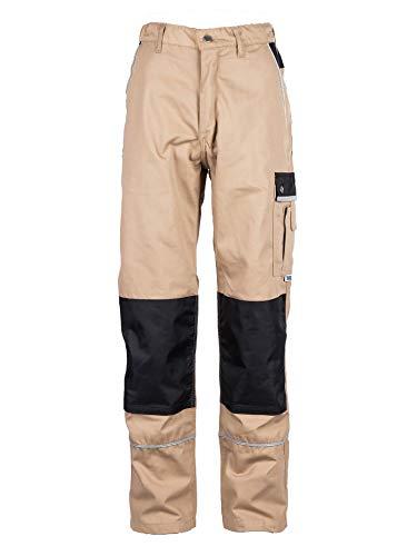 TMG® Herren Arbeitshose | Cargo Bundhose mit Kniepolster-Taschen & Reflektoren | Schreiner & Tischler | Khaki 48