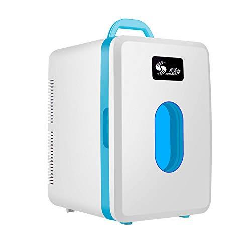JOMSK 16 litros Compacto Enfriador/Calentador del Mini refrigerador for Autos, Viajes por Carretera, hogares, oficinas Refrigerador Electrico (Color : Blue, Size : 26 * 31 * 37cm)