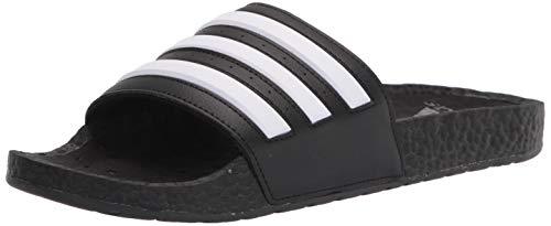 adidas Unisex Adilette Boost Slide Sandal, Black/White/Black, 13 US Men