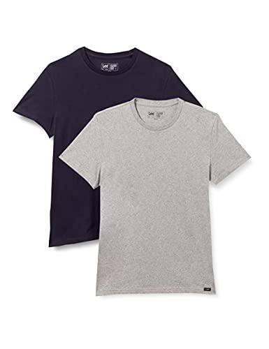Lee Twin Pack Crew Camiseta, Greymele Navy, XXL para Hombre
