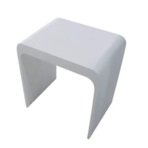 KKR Design Kunststein Badhocker/Duschhocker/Sitzhocker aus Mineralguss Modell: Stool-H, Oberfläche:Glänzend