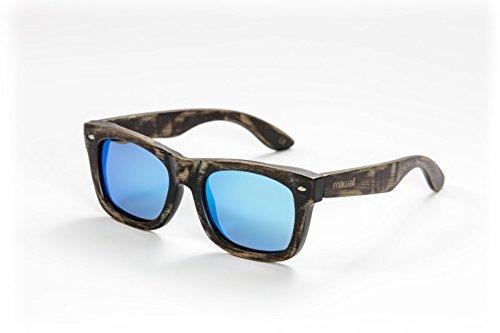 mawaii model Waipuke antiekbruin-ijsblauw gepolariseerde lenzen Fgv (Feel Good Vision) incl. bamboe box en microvezel zak zonnebril, L