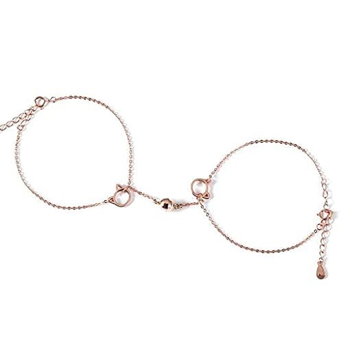 QUQUTWO Casais Pulseiras magnéticas de atração mútua Jóia de encantos de amor eterno Conjunto de joias ajustáveis para o amante Rose Gold