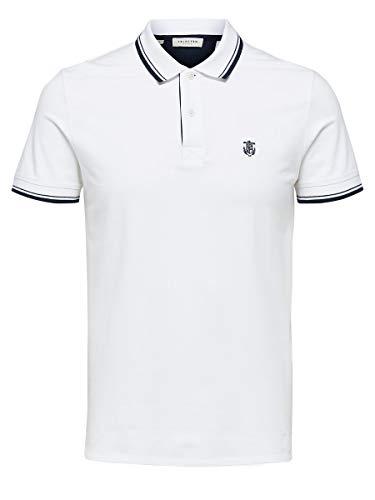 SELECTED HOMME Herren 16062542 Poloshirt, Weiß (Bright White Bright White), X-Large
