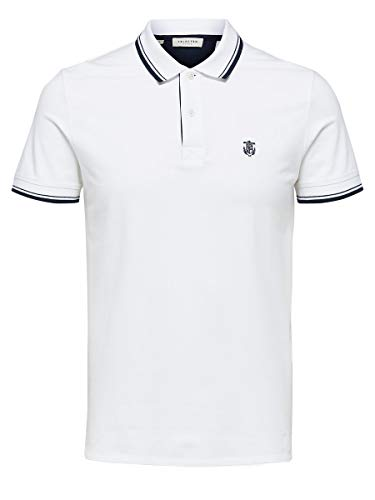 SELECTED HOMME Herren 16062542 Poloshirt, Weiß (Bright White Bright White), X-Large