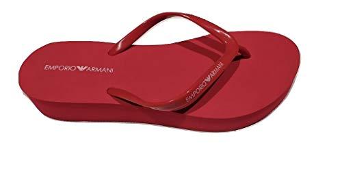 Emporio Armani Damen Swimwear Essential Flip-Flop, Poppy+White+Poppy, 41 EU