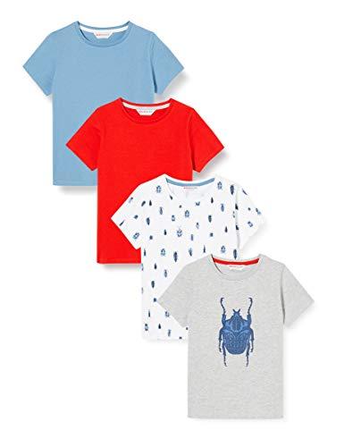 Amazon-Marke: RED WAGON Jungen Slogan-T-Shirt mit rundem Ausschnitt, 4er-Pack, Mehrfarbig (Bugs), 140, Label:10 Years