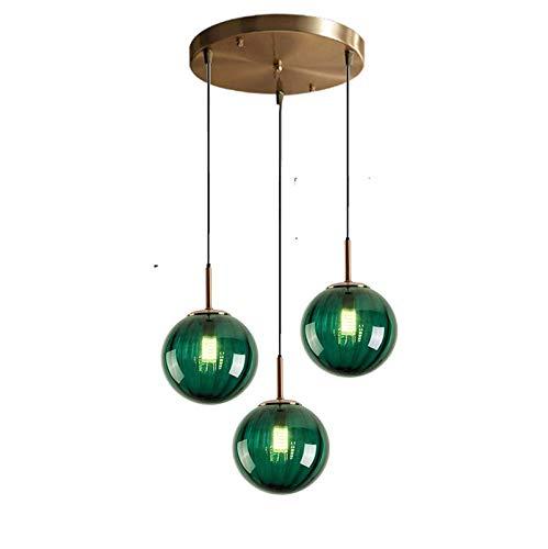 YQG Lámpara Colgante nórdica de 3 Luces, lámpara de Techo con Forma de Globo de Cristal de 15 cm, lámpara Colgante Moderna y Sencilla E27, lámpara de Techo para decoración, Accesorios de Ilumina