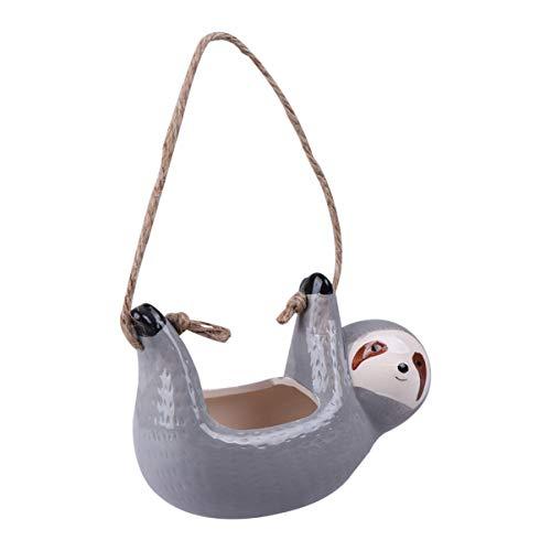 Hemoton Bradipo in Ceramica Fioriera Sospesa per Piante da Interno Ed Esterno Simpatico Vaso di Fiori Portavaso per Piante Grasse Home Decor (Grigio)