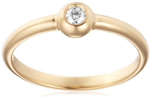 Anillo solitario para mujer de oro amarillo 14 quilates 585 con diamante naturale 0.05 quilates