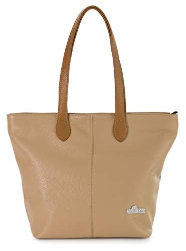 LIATALIA Damentasche - Echtledertasche - Hobo Umhängetasche - Hergestellt aus 100% italienischem Leder - Elegantes Design - Hochwertiger Damen Geldbeutel - TIA - (Keks Brown)