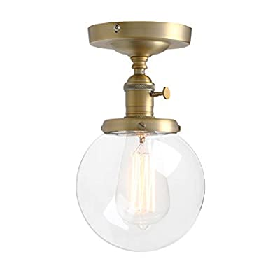 Pathson Industrial Brass Semi-Flush Mount Ceiling Light, Vintage Style Pendant Lighting, Glass Shade Hanging Light Fixtures for Laundry Room Living Room Cafe Bar