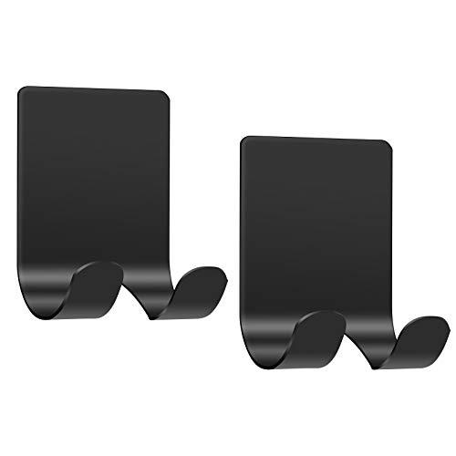 Razor Holder for Shower(2 Pack), JEXCULL Stainless Steel Self Adhesive Shaver Hooks Hangers Holders Racks Organizers Heavy Duty Bathing Shower Hook for Bathroom, Toilet, Loofah(Black)