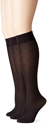 No Nonsense Women's Silky Trouser Knee High Sock, 3 Pair Pack, 4-10, Black