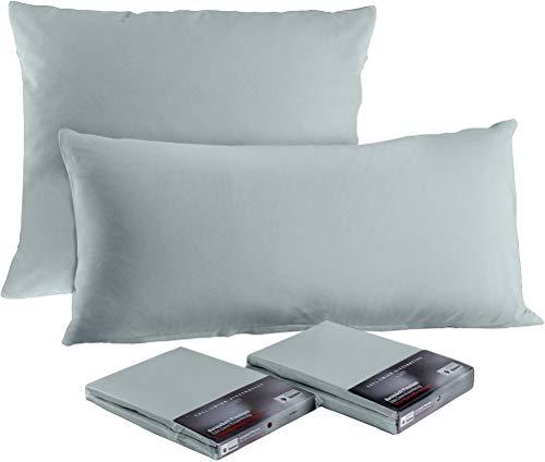 Dormabell Funda de cojín de calidad prémium fabricada en Alemania, apta para almohadas de tamaño 40 x 80 cm, color: plateado