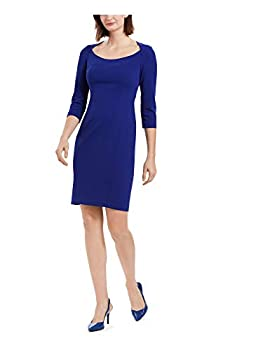 Calvin Klein 3/4 Sleeve Sheath Dress w/Open Neck Ultramarine 4