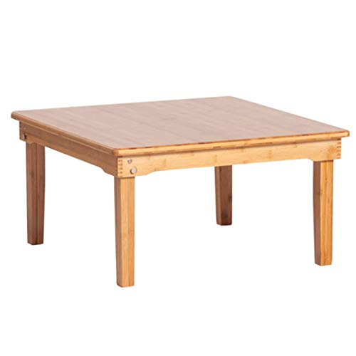 Opklapbare Tafel Vierkante Tafel Kleine Tafel Voor Bed Bamboe Bedtafel Opvouwbaar Houten Dienblad Voor Bed Met Pootjes Geschikt Voor Familie (Color : Wood color, Size : 70 * 70 * 37cm)