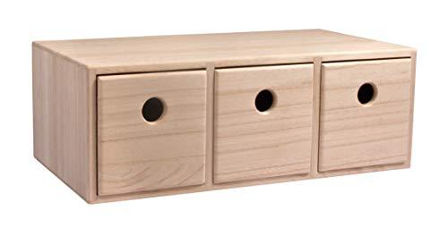 Rayher Commode en bois avec 3 tiroirs, FSC 100%, Nature, 32x18x11,5 cm
