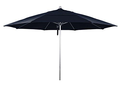 California Umbrella Aluminum/Fiberglass, Push Open, Silver Pole, Navy Blue Olefin Umbrella, 11' Round