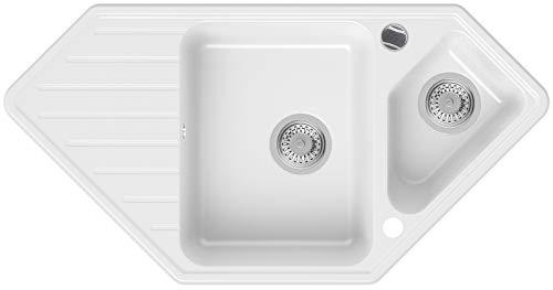 Granitspüle Weiß 97 x 49 cm, Spülbecken + Siphon Automatisch, Eckspüle ab 80er Unterschrank in 5 Farben mit Siphon und Antibakterielle Varianten, Küchenspüle von Primagran