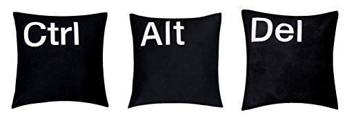 Bullahshah '' Ctrl Alt Supr '' conjunto de 3 Premium calidad algodón de chenilla negro de 16