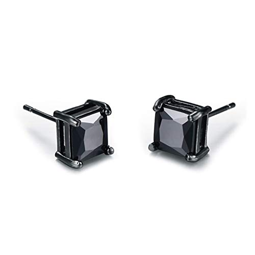 SFQRYP 4/5 / 6 / 7mm Lover'S Black Gold Pendiente Classic Pendientes Pendientes Cuadrados Moda Black Stud Pendientes para Hombres y Mujeres (Main Stone Color : 5mm)