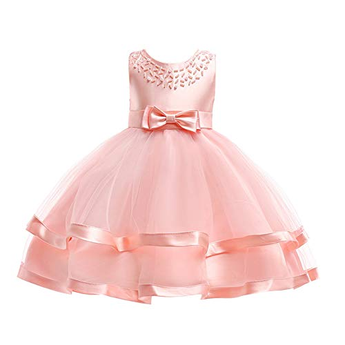 COMISARA Toddler Baby Girls Bridesmaid Dresses Little Kids Birthday Prom Pageant Wedding Party Performance Fancy Formal Princess Ball Gown Dress Size 18M 24M (Pink 90)