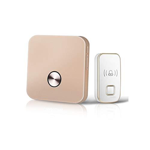 Timbre Doquilla inalámbrica del timbre del timbre del timbre impermeable con la batería del enchufe, la luz de volumen de 5 niveles para el hogar, la oficina (1 botón de la puerta del timbre 1Receiver