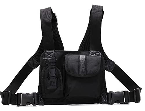 EFGUFHC Taktische Brust Rig Bag Skateboard Militär Brusttasche Für Männer Funktionale Taillenpackungen Einstellbare Weste Leicht (Color : Black)